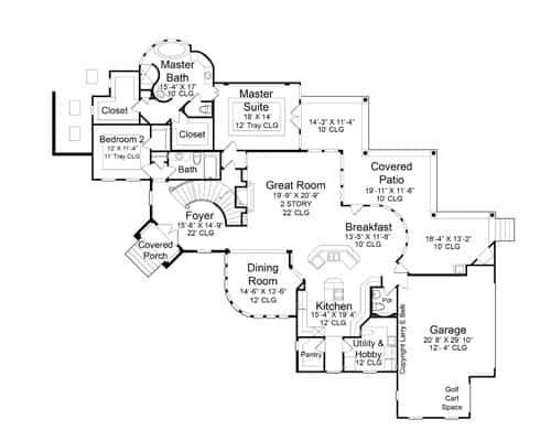 Main level floor plan of a 4-bedroom two-story Mediterranean Style The Austin home with great room, dining room, kitchen with breakfast nook, utility & hobby room, an expansive covered patio, and two bedrooms including the primary suite.