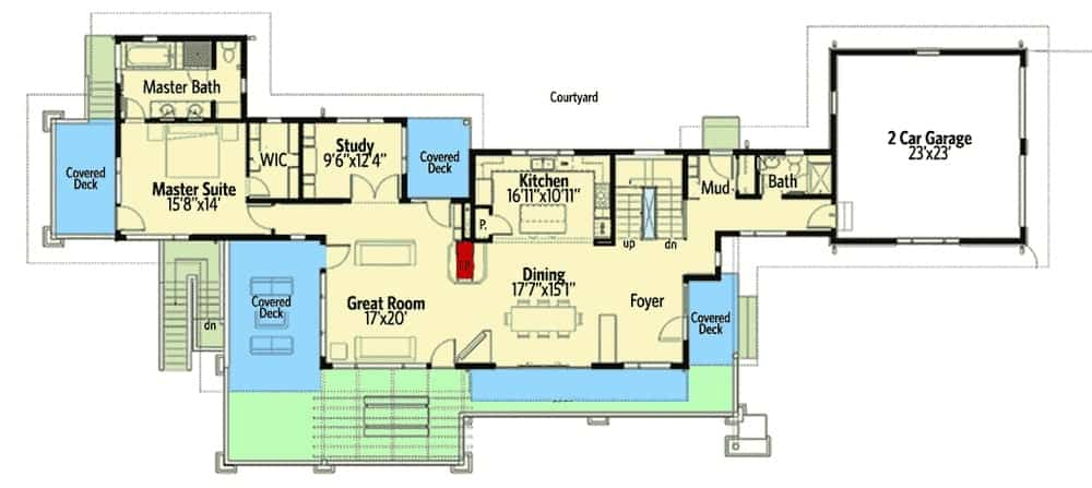 Main level floor plan of a 4-bedroom two-story mountain home with great room, kitchen, dining area, study, primary suite, and lots of outdoor spaces.