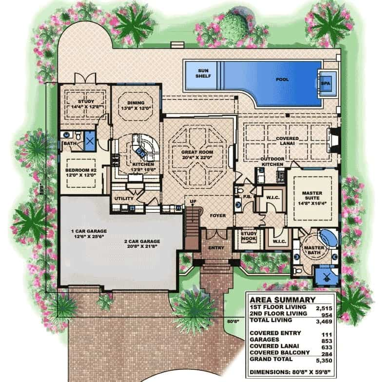Main level floor plan of a 4-bedroom two-story Spanish home with great room, kitchen, diing area, study, and two bedrooms including the primary suite.
