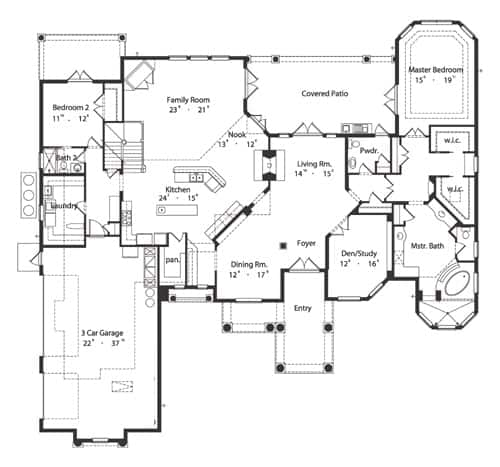 Main level floor plan of a 4-bedroom two-story Spanish style home with dining room, living room, den/study, family room, kitchen with breakfast nook, laundry, and two bedrooms including the primary suite.