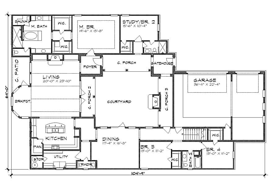 Main level floor plan of a 4-bedroom two-story The Barcelona Spanish home with living room, kitchen, formal dining room, utility, four bedrooms, and an interior courtyard.