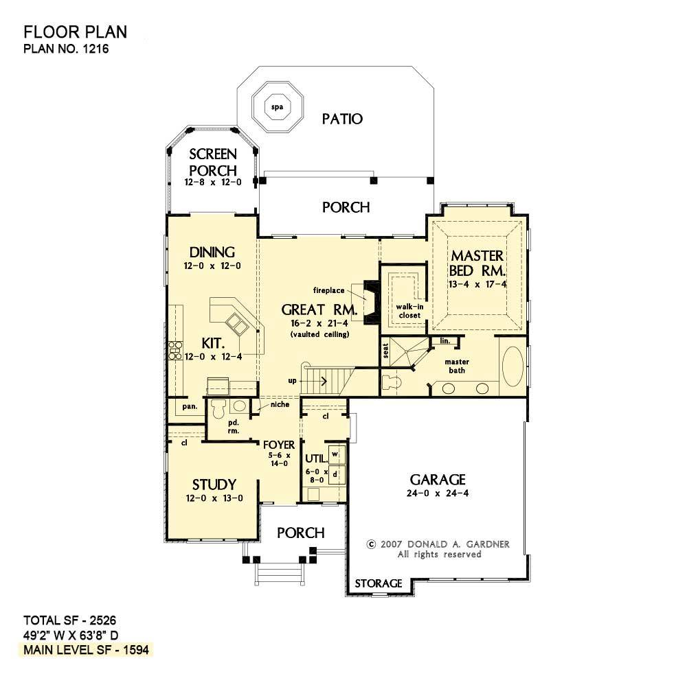 Main level floor plan of a 4-bedroom two-story The Collier craftsman with study, utility, great room, primary suite, kitchen, and dining area that opens to the screened porch.