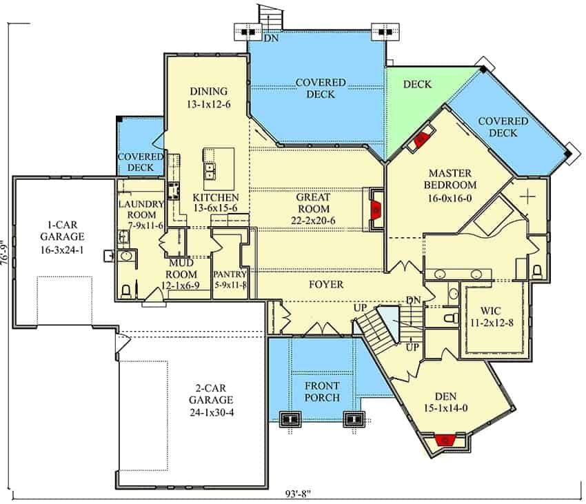 Main level floor plan of a 5-bedroom two-story contemporary home with great room, kitchen, dining area, a den, laundry room, and primary suite with private deck.