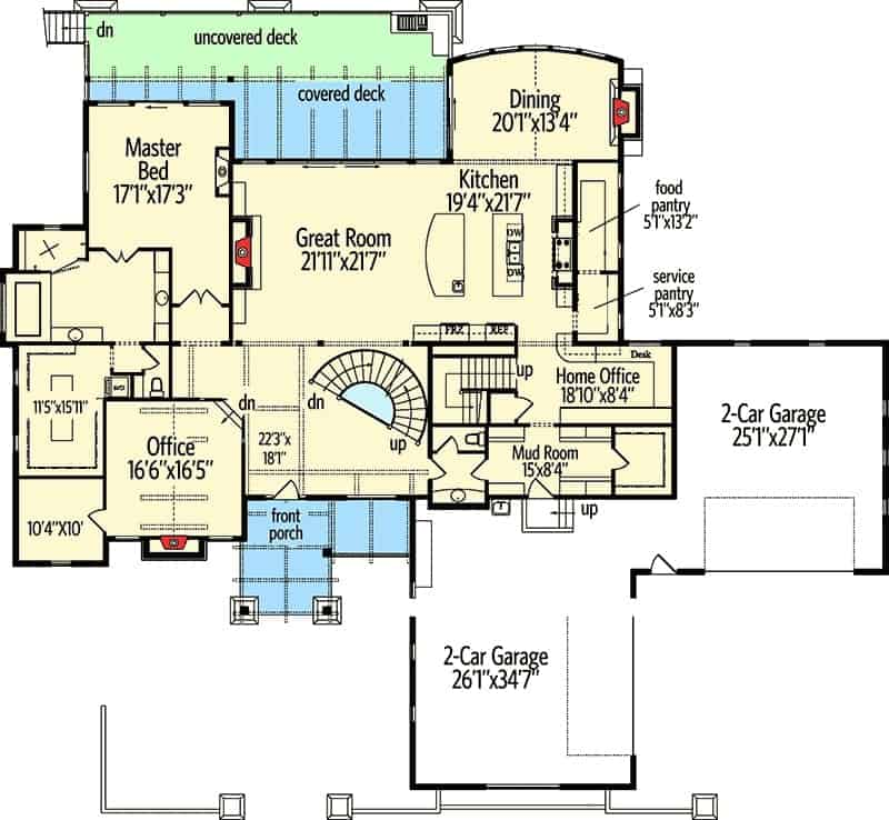 Main level floor plan of a 5-bedroom two-story craftsman home with front porch, great room, kitchen, dining area, home office, primary suite, and a mudroom that leads to the 4-car garage.