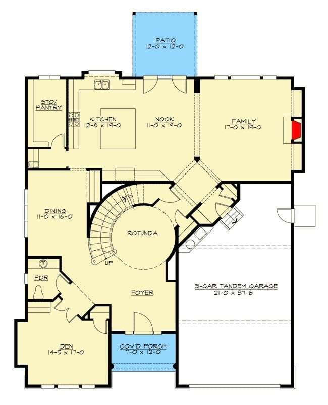 Main level floor plan of a 5-bedroom two-story modern farmhouse with a foyer, rotunda, den, formal dining room, family room, and kitchen with a breakfast nook that opens to the rear patio.