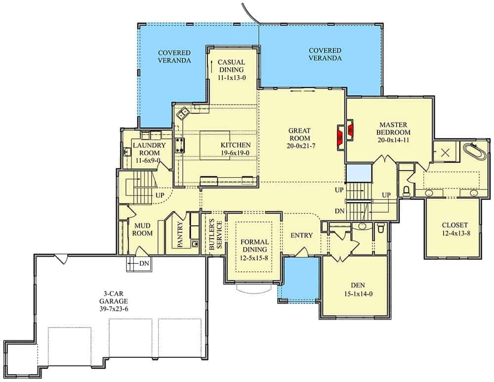 Main level floor plan of a 5-bedroom two-story Spanish home with den, great room, formal dining room, kitchen, laundry room, primary suite, and a mudroom that leads to the spacious garage.