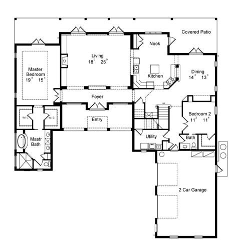 Main level floor plan of a 5-bedroom two-story Spanish style Sophia home with living room, kitchen with breakfast nook, dining room, and two bedrooms including the primary suite.