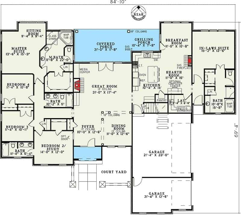 Main level floor plan of a 5-bedroom two-story Tuscan villa with great room, dining area, kitchen with breakfast nook, hearth room, 5 bedrooms, and grilling porch.