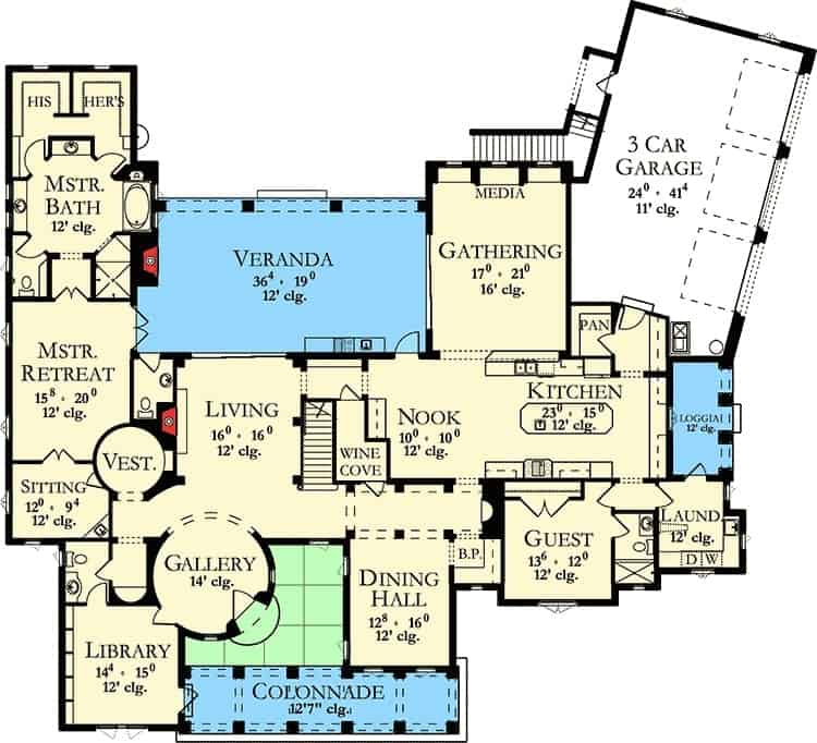 Main level floor plan of a 6-bedroom two-story Spanish villa with a gallery, library, living room, dining hall, kitchen with nook, gathering room, laundry room, guest room, primary suite, and an angled 3-car garage.