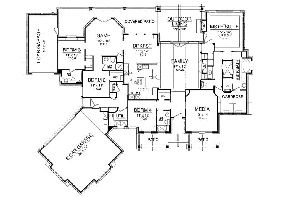 Entire floor plan of a single-story 4-bedroom Chandlers Lake craftsman home with media room, family room, kitchen, breakfast area, game room, four bedrooms, outdoor living, and two garages that can fit three cars comfortably.