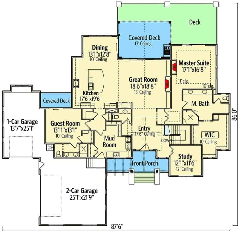 Main level floor plan of a single-story 4-bedroom mountain craftsman home with great room, kitchen, dining area, study, mudroom, guest room, primary suite, and plenty of outdoor spaces.