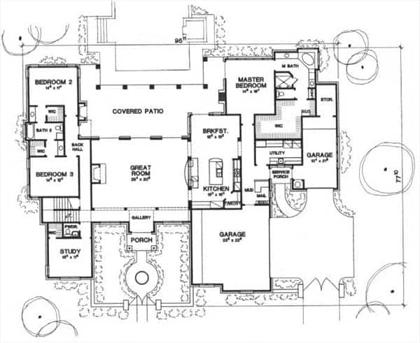 Main level floor plan of a two-story 3-bedroom Tuscan-style The Piacenza home with great room, kitchen with breakfast nook, study, three bedrooms, covered back patio and a front courtyard.