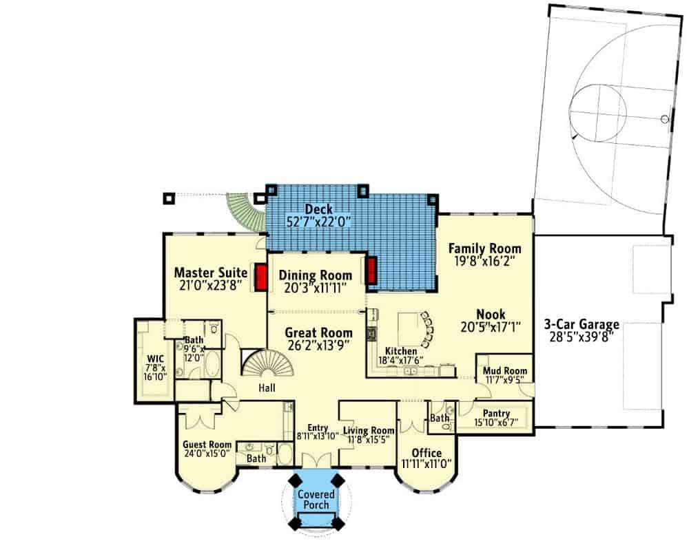 Lower level floor plan with four bedrooms, an exercise room, sitting room, family room, game room, theater, boat storage, and a sports court.