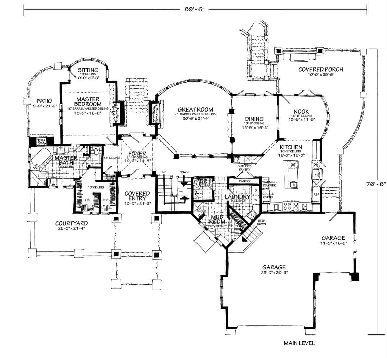 Main level floor plan of a three-story 4-bedroom Tamano contemporary style home with a courtyard, covered porches, great room, dining area, kitchen with breakfast nook, primary suite, and an L-shaped garage.