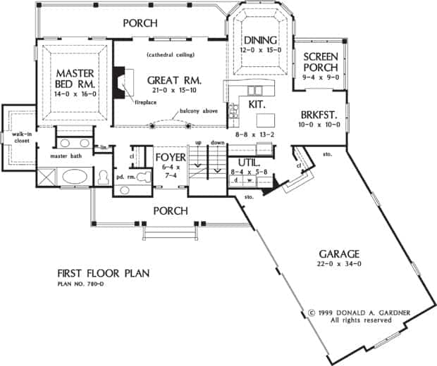 Main level floor plan of a three-story 4-bedroom The Peekskill cabin home with great room, kitchen, dining area, utility, breakfast nook, angled garage, screened porch, and front and rear porches.