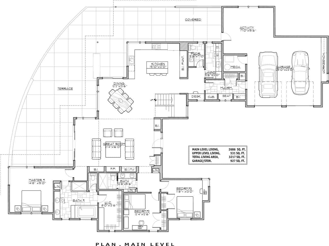 Main level floor plan of a two-story 3-bedroom contemporary home with great room, dining area, kitchen, three bedrooms, a courtyard, and an expansive terrace.