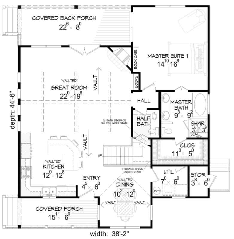 Main level floor plan of a two-story 3-bedroom country place cabin with great room, kitchen, dining area, and primary suite with back porch access.