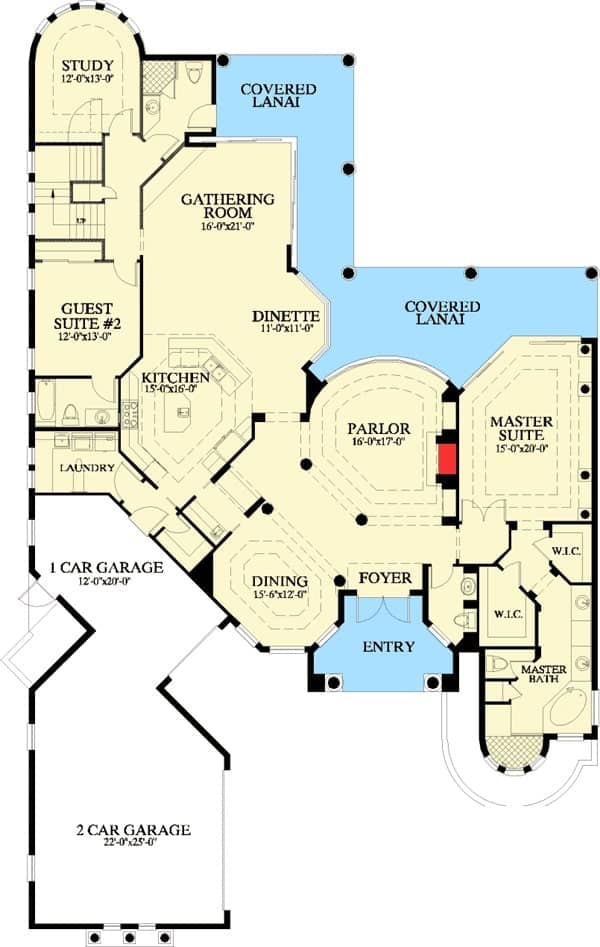 Main level floor plan of a two-story 3-bedroom Mediterranean home with parlor, formal dining room, kitchen with dinette, gathering room, study, and two bedrooms including the primary suite.