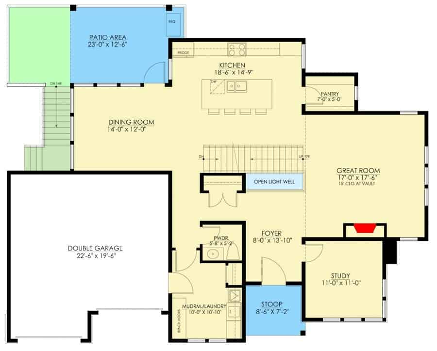 Main level floor plan of a two-story 3-bedroom modern farmhouse with double garage, foyer, great room, study, kitchen, and dining room that opens to the rear patio.