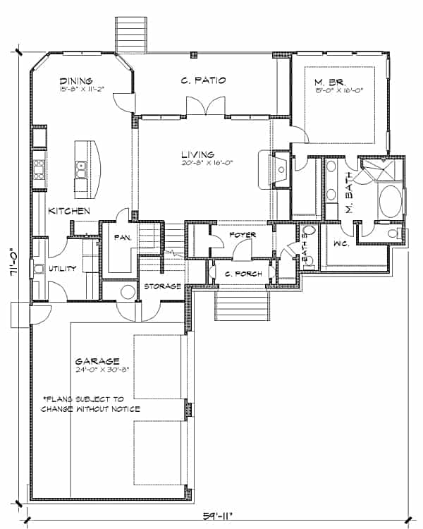 Main level floor plan of a two-story 3-bedroom French country home with a living room that extends to the covered patio, kitchen, dining area, utility room, primary suite, and a double garage.