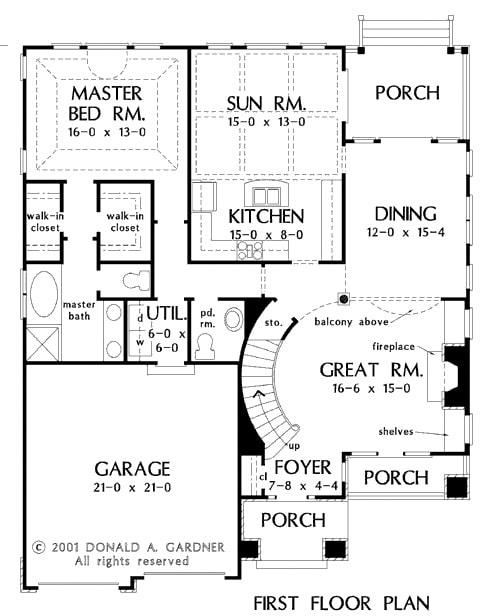 Main level floor plan of a two-story 3-bedroom The Wicklow Texas-style home with a great room, formal dining room, primary suite, kitchen, and a sunroom that opens to the covered porch.