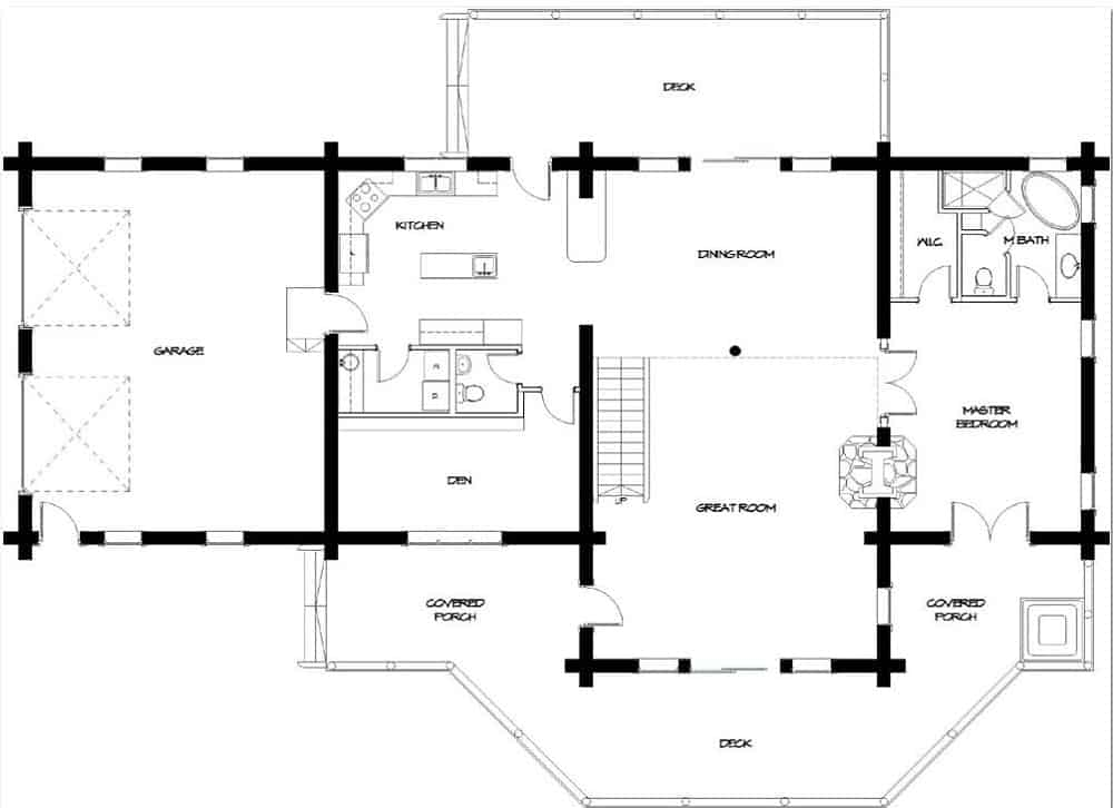 Main level floor plan of a two-story 3-bedroom Timber Meadow log cabin with double garage, great room, dining area, kitchen, den, primary bedroom, and expansive decks.