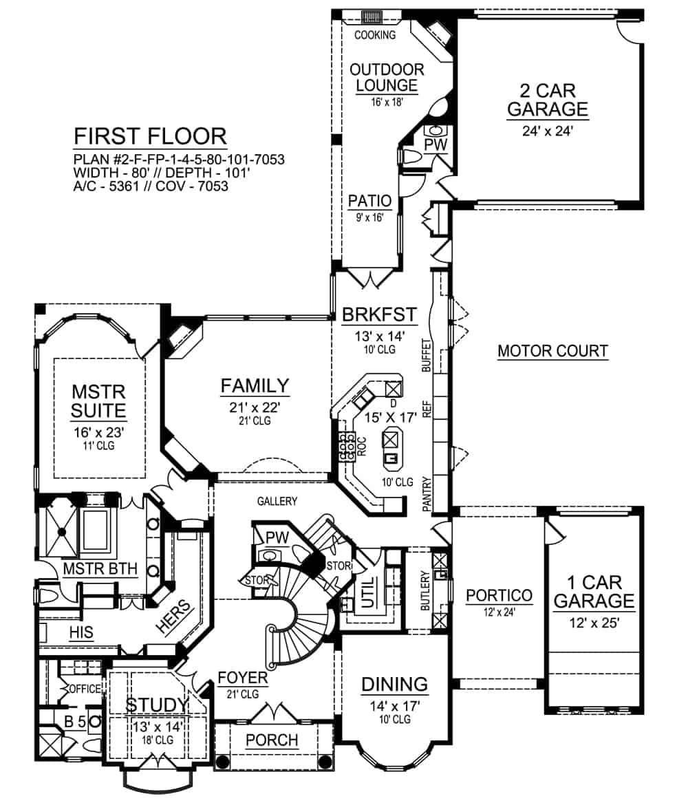 Main level floor plan of a two-story 4-bedroom Azalea Mediterranean home with a three-car garage, family room, formal dining room, kitchen with breakfast nook, study, primary suite, and an outdoor lounge.