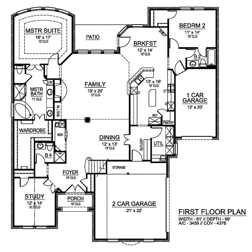 Main level floor plan of a two-story 4-bedroom Broham Canyon traditional home with dining room, family room, kitchen with breakfast nook, study, and two bedrooms including the primary suite.