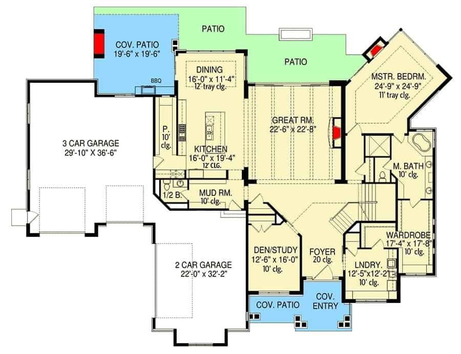 Main level floor plan of a 6-bedroom two-story modern farmhouse with two garages, den/study, great room, kitchen, dining area that opens to the covered patio, laundry room, and primary suite with patio access.