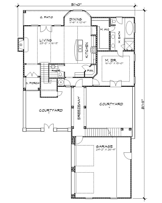 Main level floor plan of a two-story 4-bedroom The Bellasera D Spanish home with a garage, courtyards, primary suite, kitchen, dining room, and living room that opens to the rear porch.