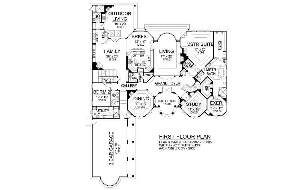 Main level floor plan of a two-story 5-bedroom Cordillera Spanish home with grand foyer, living room, study, formal dining room, kitchen with breakfast nook, family room that opens to the outdoor living, and two bedrooms including the primary suite with exercise room.