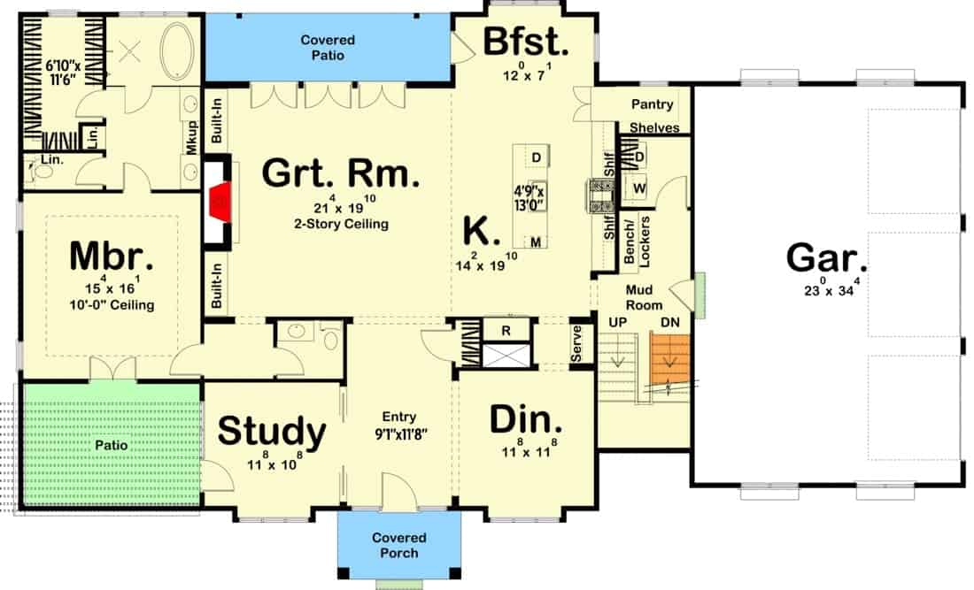 Main level floor plan of a two-story 5-bedroom Southern home with great room, formal dining room, study, kitchen with breakfast nook, a mudroom that leads to the oversized garage, and a primary suite with patio access.