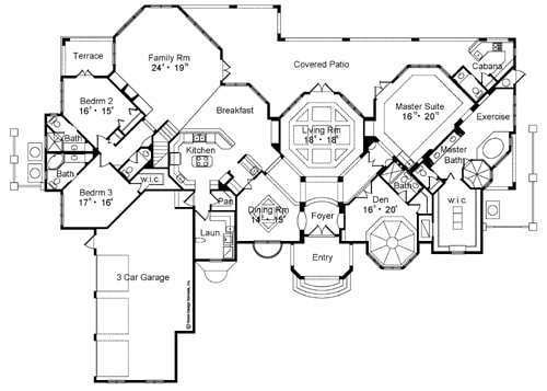 Main level floor plan of a two-story 5-bedroom Strasbourg Mediterranean home with foyer, formal dining room, den, living room that opens to the covered patio, kitchen with breakfast nook, family room, and three bedrooms including the primary suite.