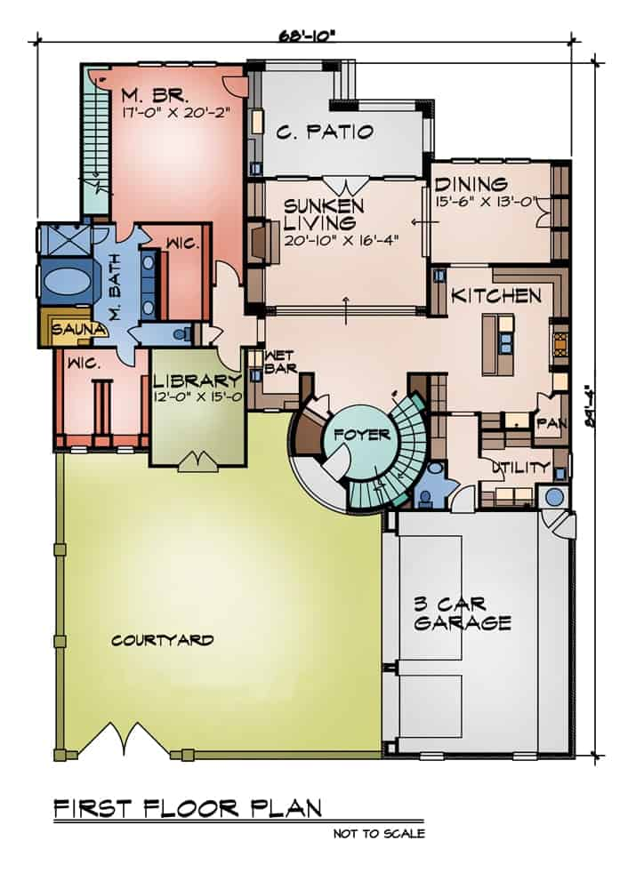 Main level floor plan of a two-story 5-bedroom The Perugia Spanish home with courtyard, kitchen, dining room, living room, library, utility, and primary suite with private access to the back porch.