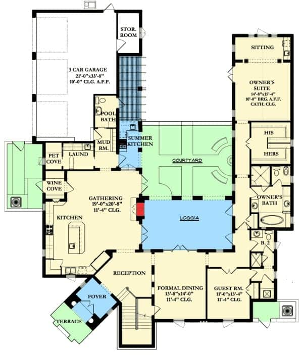 Main level floor plan of a two-story 6-bedroom Spanish colonial home with reception area, gathering room, kitchen, wine cove, pet cove, formal dining room, guest room, primary suite, and plenty of outdoor spaces.