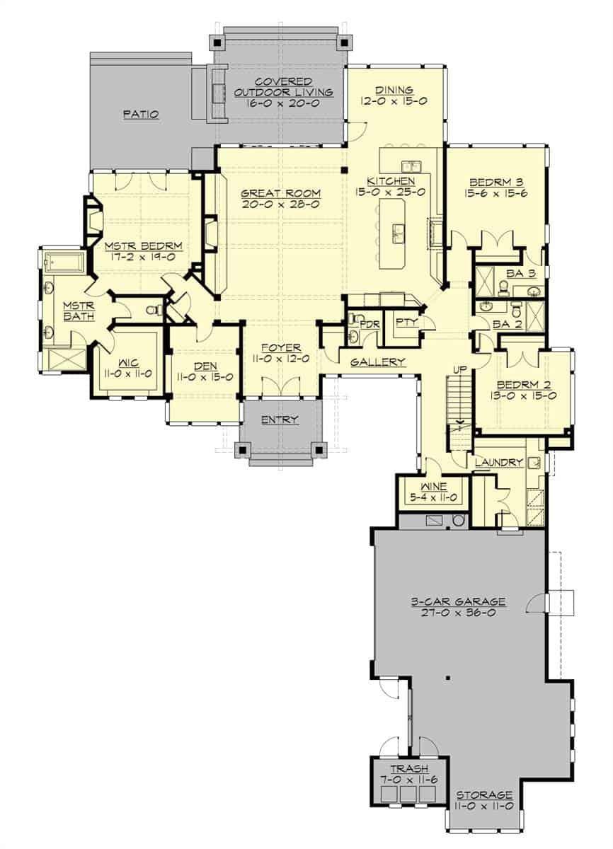 Main level floor plan of a two-story 4-bedroom craftsman style home with great room, kitchen, dining area, wine cellar, laundry room, and three bedrooms including the primary suite that has private access to the rear patio.