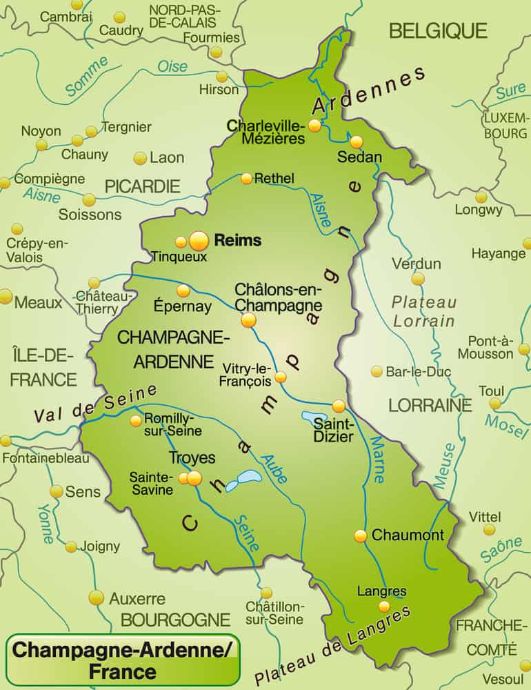 Map of Champagne region in France