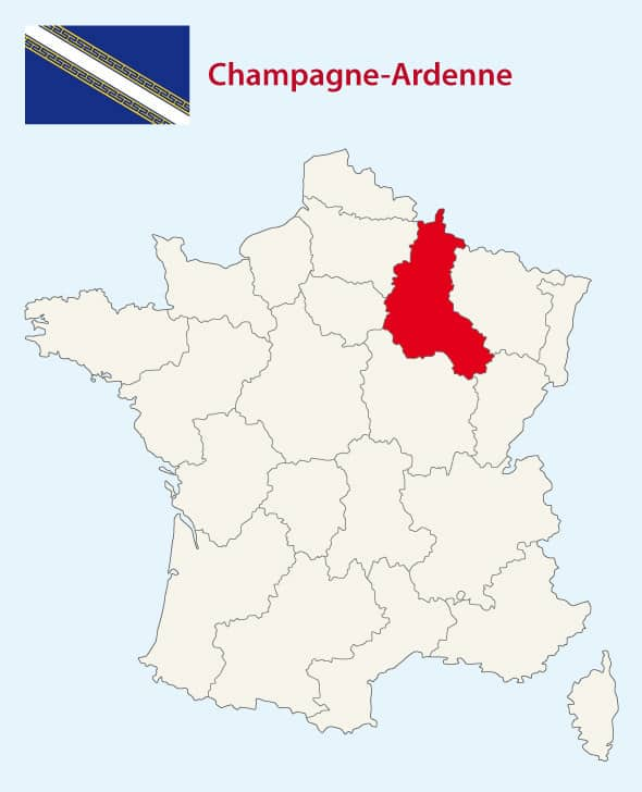 map of France with Champagne region highlighted