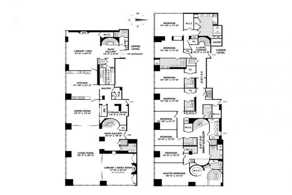 This is the floor plan for the two units of the penthouse showcasing the different sections. Image courtesy of Toptenrealestatedeals.com.