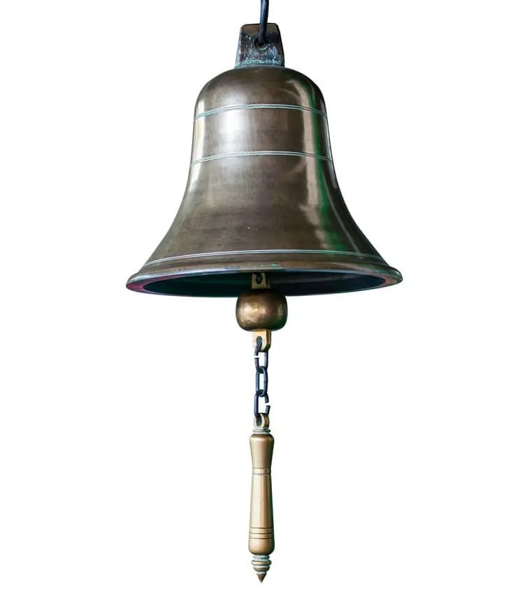 Bell made out of brass and miscellaneous metals.