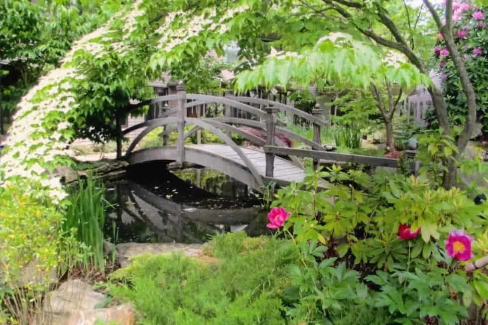 This is a close look at a wooden bridge that leads to the house. This is adorned by the surrounding lush landscape of thick flowering shrubs and tall trees. Image courtesy of Toptenrealestatedeals.com.