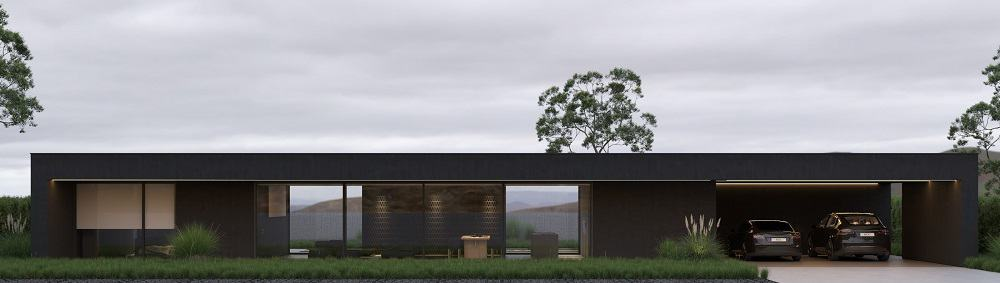 This is the front view of the house that has black exterior walls, one level and has large glass walls.