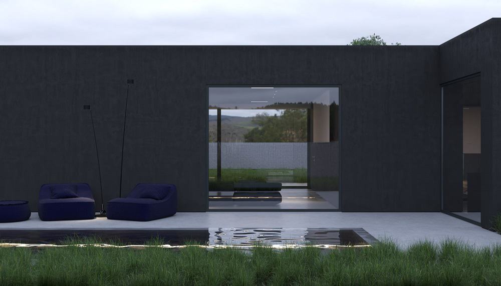 This is a look at the back of the house with black exterior walls, dark outdoor lounge chairs and an infinity edge pool.