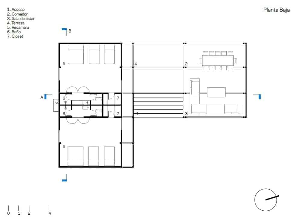 This is the floor plan for the house showcasing the various sections like the living areas and the bedrooms.