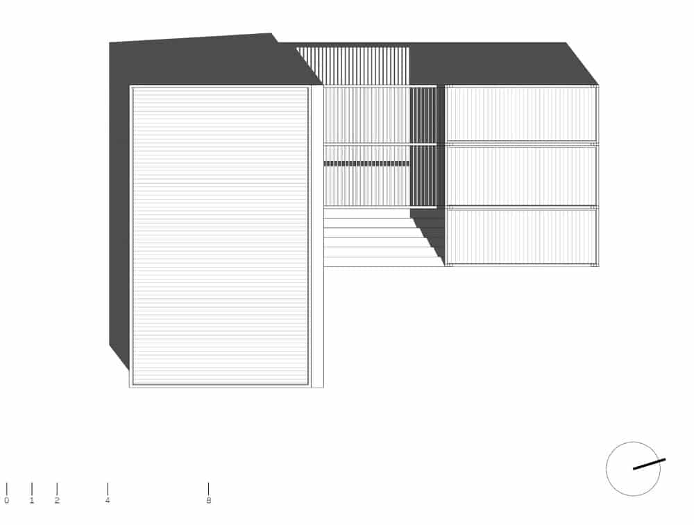 This is an illustration of the top view of the house showing the roof and trellises.