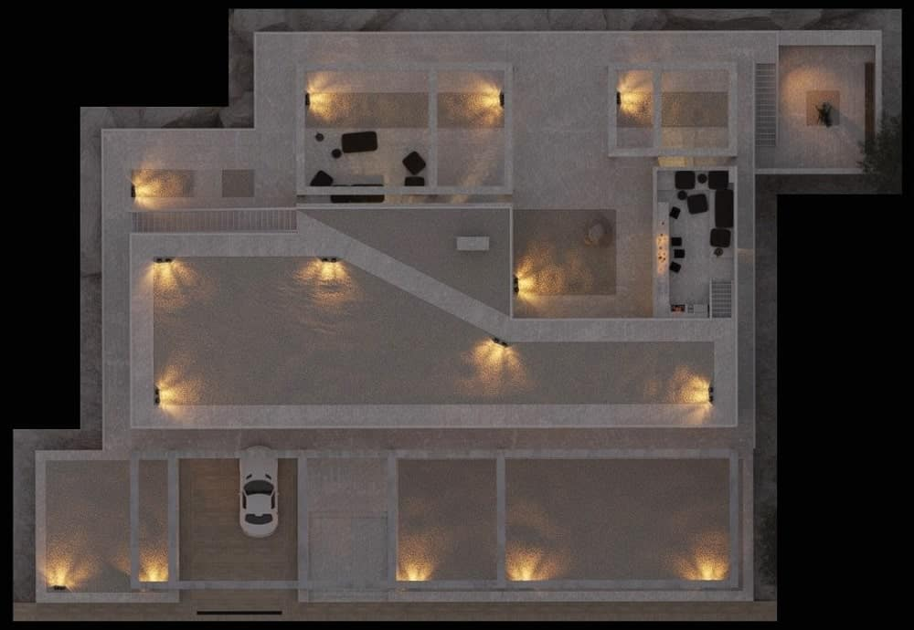 This is a top view of the whole place showcasing the placements of the various lights and sconces.
