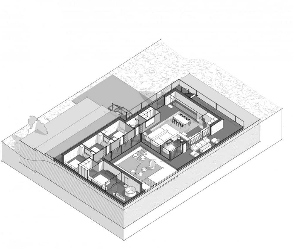 This is an illustrative 3d representation of the ground floor.
