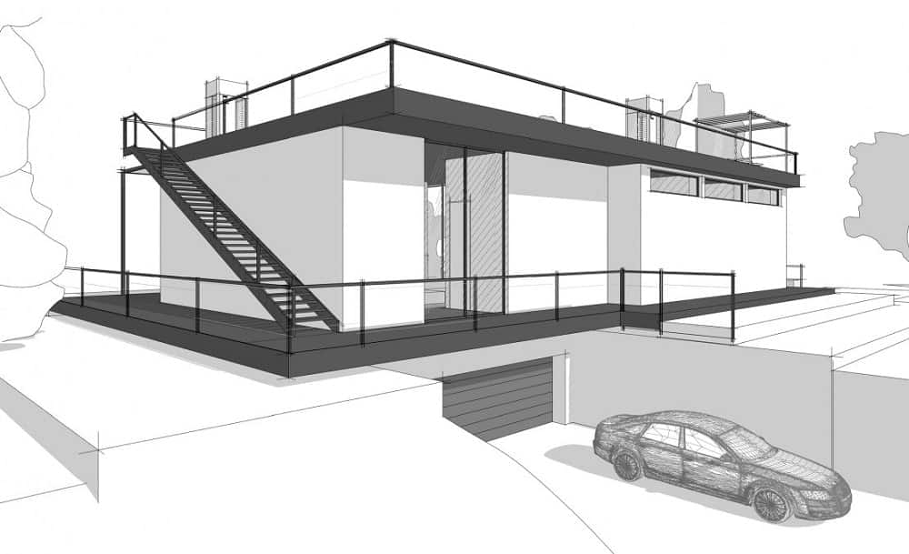 This illustration shows that the house even has an underground garage.