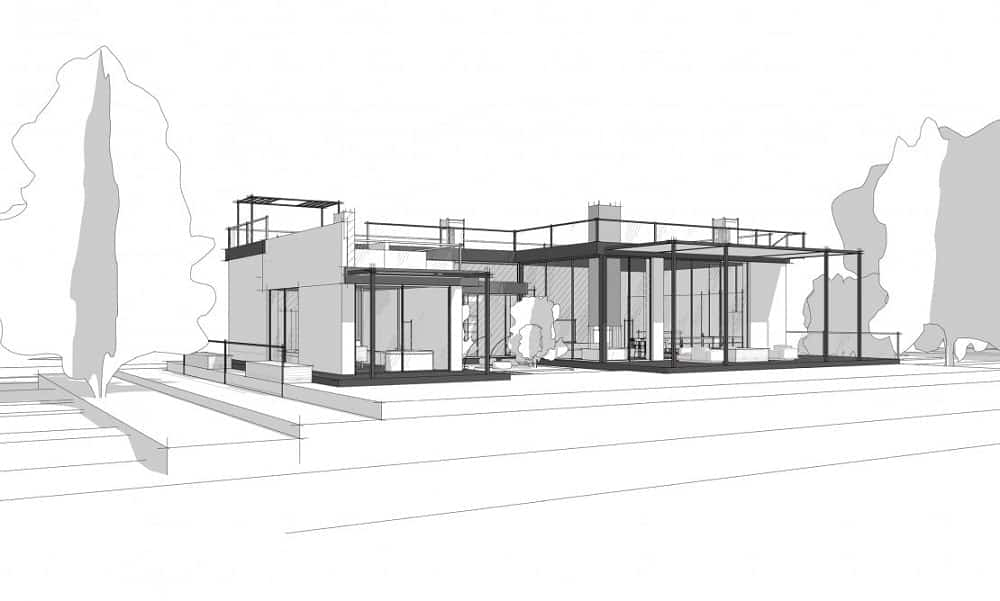 This illustrative view of the house with lots of glass walls and outdoor areas.