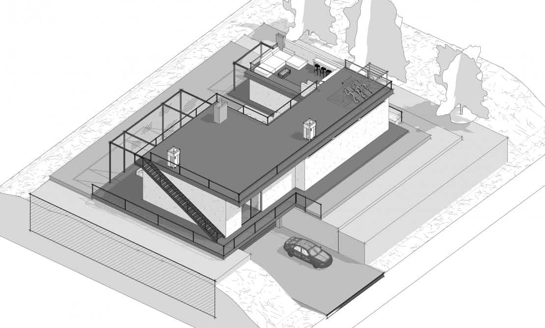 This is a 3d illustration of the aerial view of the house showcasing the various structures and areas.